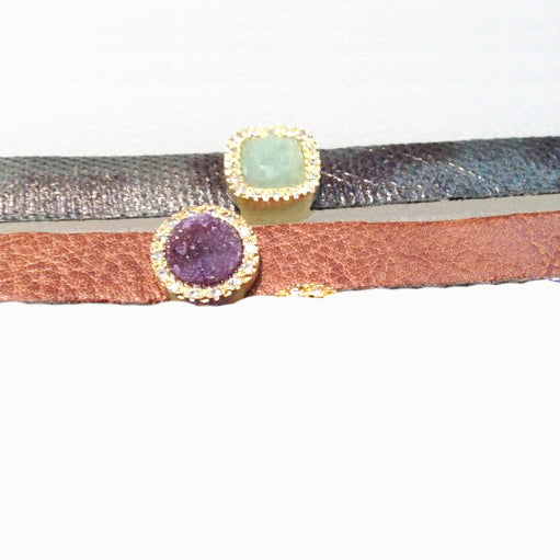 Green Python Leather Bracelet with Green Quartz Stone