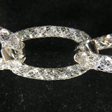 Mesh Link Bracelet with Swarowski Crystals -18K White Gold Plated