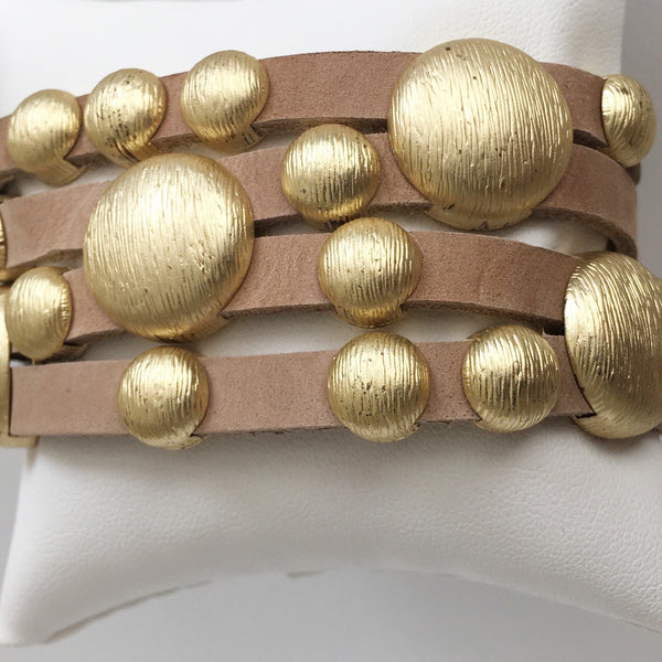 Bursting Goldtone Beads on Leather Bracelet with Magnetic Clasp