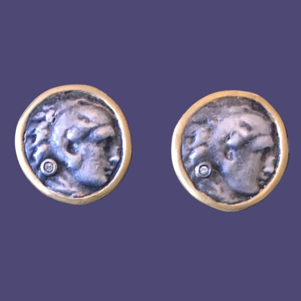 Gold Framed Silver Coin Cufflinks With Diamond Accents
