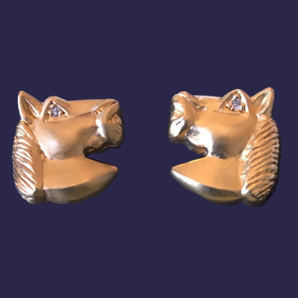 Gold Horse Cufflinks with Diamond Accents