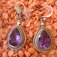 14K Gold Vermeil Earring with Amethyst