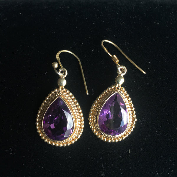 14K Gold Earrings over Silver with Amethyst