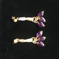 18K Gold Plated Earrings with Spun Silk and Natural Amethyst Stones