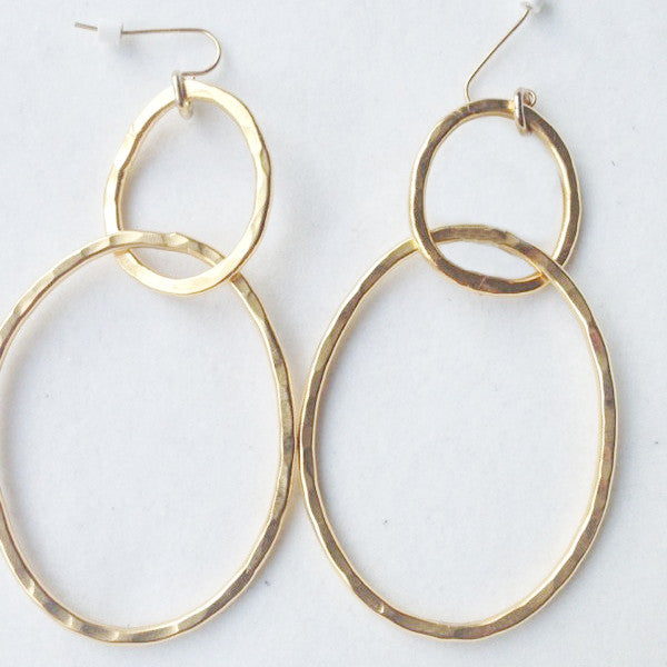 Double Ring, 24K Gold Plated Dangling Earrings