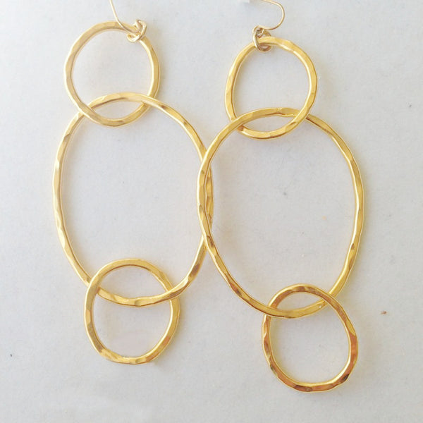 Triple Ring, 24K Gold Plated Earrings