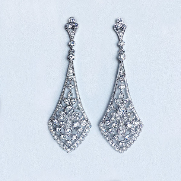 CZ Chandelier Kite Earrings, Silvertone