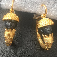 Very popular! 24K Gold Plated Bucchero Earrings, Handmade