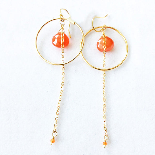 18K Gold Plated Earrings with Orange Jade