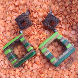 Eco Friendly Carved Wood Earrings
