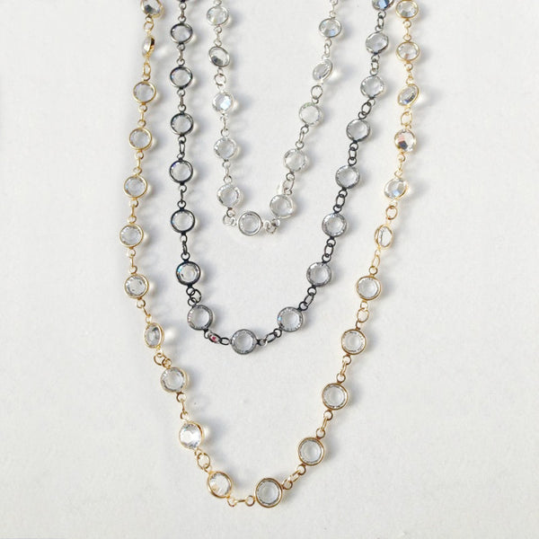 "60"" Black Rhodium Plated Chain with Large Austrian Crystal Chain Necklace"