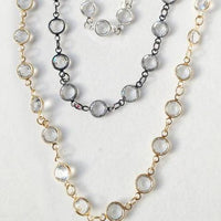 "60"" Necklace Black Rhodium Chain with Large Austrian Crystals"
