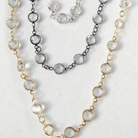 "60"" Necklace White Rhodium Chain with Large Austrian Crystals"