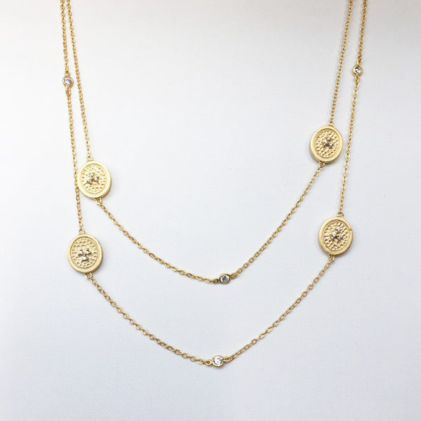 14k gold plated over silver with clear CZ accents, 36""