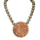 Rosey Gold Pop Jewel Necklace with Pyrite