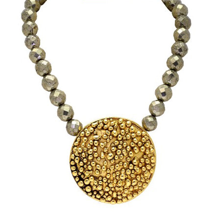 Golden Pop Jewel Necklace with Pyrite