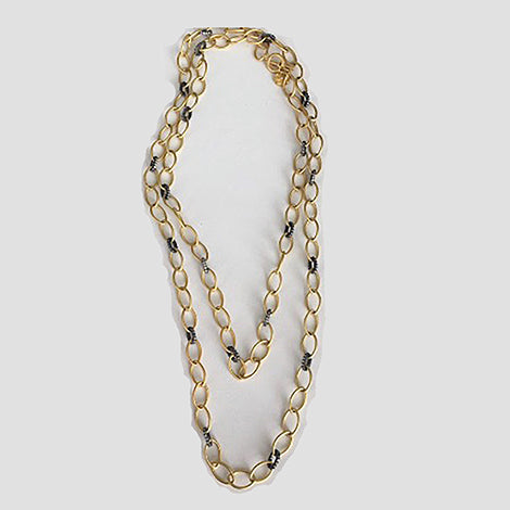 Two Tone Gold Link Chain Necklace with CZs