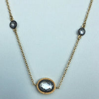 Circle and Oval CZ Necklace With Black Rhodium Accents, 36""
