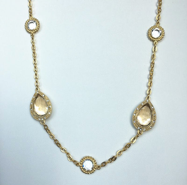 14K Gold Plated Necklace with Citrine Swarovski Crystals, 40""