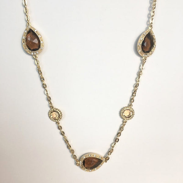 14K Gold Plated Necklace with Smokey Quartz Swarovski Crystals, 40""