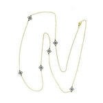 14K Gold Plated Necklace with Black Gunmetal (Available in Gold chain with black flowers or black chain with gold flowers)