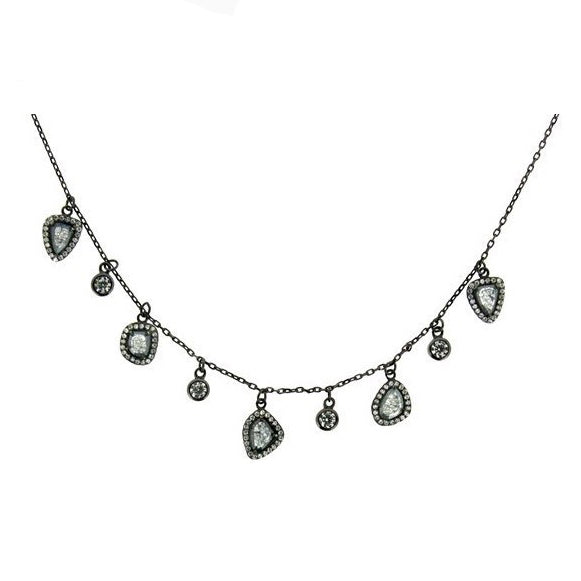 Sliced CZ Dangle Necklace, Black Rhodium