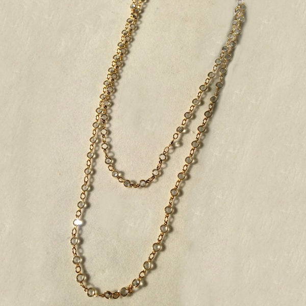 "36"" White Rhodium Plated Chain with Small Austrian Crystal Chain Necklace"