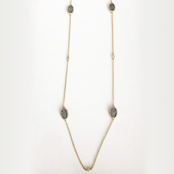 Two Tone Vermeil Necklace With Pave CZs
