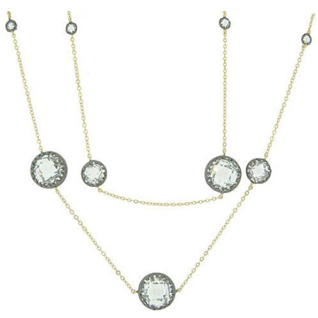 Two Tone Faceted CZs Necklace with Gold and Black - 36""