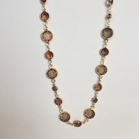 Smokey Quartz Austrian Crystal Gem Candy Necklace, Rose Gold