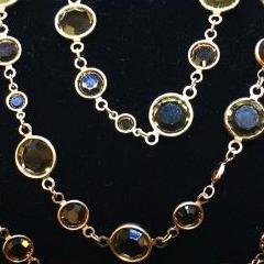 Smokey Quartz Austrian Crystal Gem Candy Necklace, Gold