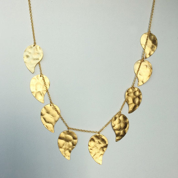 Dangling Leaves Necklace, 24K Matte Finish