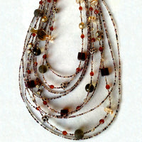 Multi-strand Geometric Murano Glass Beaded Necklace
