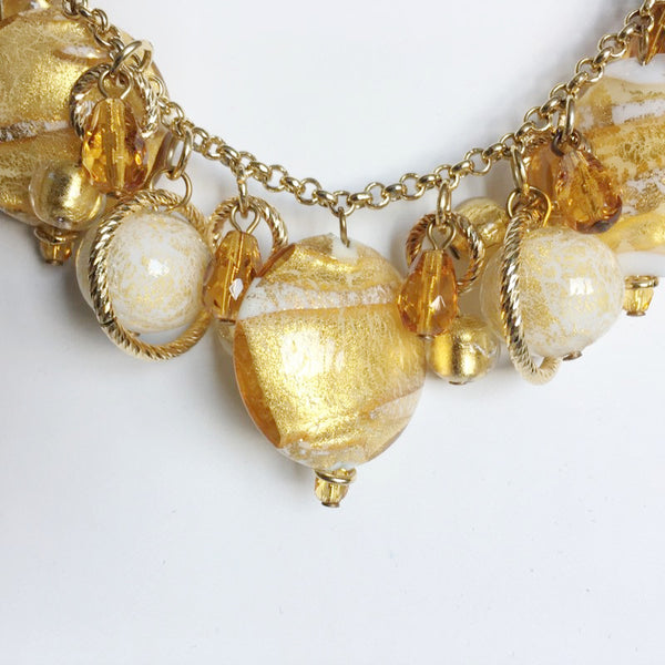 18k Gold Plated Bracelet with Murano Glass Charms