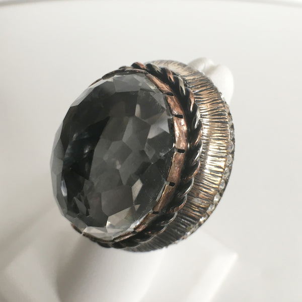 Large Copper, Bronze and CZ Ring