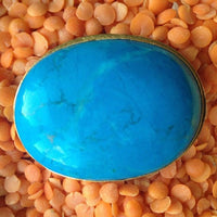 24K Gold Plated with Large Turquoise Howlite Ring