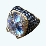 14 Gold Plated Ring over Silver with Black Rhodium and Large CZ