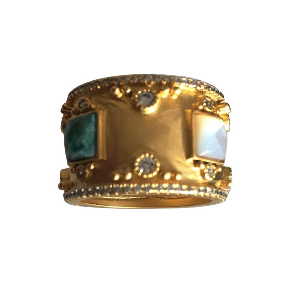 14K Gold Plated Mother of Pearl and Turquoise Band Ring with CZs