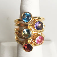 24K Gold Plated Stack Rings with BLUE Solitaire CZ