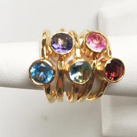 24K Gold Plated Stack Ring with PINK Solitaire CZ