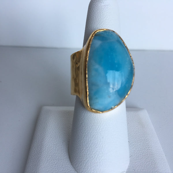 24K Gold Plated with Large Larimar Stone