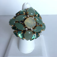 18K Gold Plated Ring with Amazonite, Apatite, Peruvian Opal