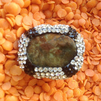 Sterling Silver Ring with Swarowski Crystals and African Jade Druise