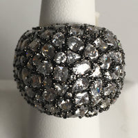 Domed, Black Rhodium and Gold Plated Ring over Silver with CZ