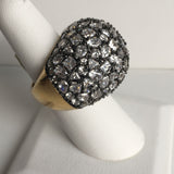 Black Rhodium and Gold Plated Ring over Silver with CZ