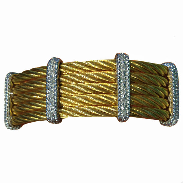 Cable Bracelet in Gold Plated Stainless Steel with White Rhodium Plated Silver and Diamonds