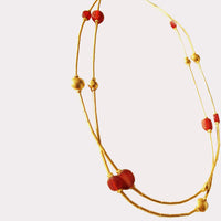 24K Gold with Citrine Tubular 5 Strand Red Agate Lentils