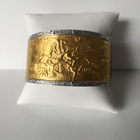 Iconic Wide Embellished 24K Gold Cuff w/Diamond & Silver Rim