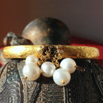 24K Gold Bangle Bracelet with Dangling Pearls