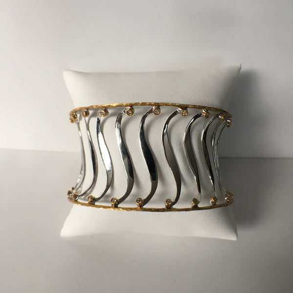 Zebra Cuff Bracelet - Rhodium Sterling Silver with a 24K Gold Rim Adorned with Diamonds.